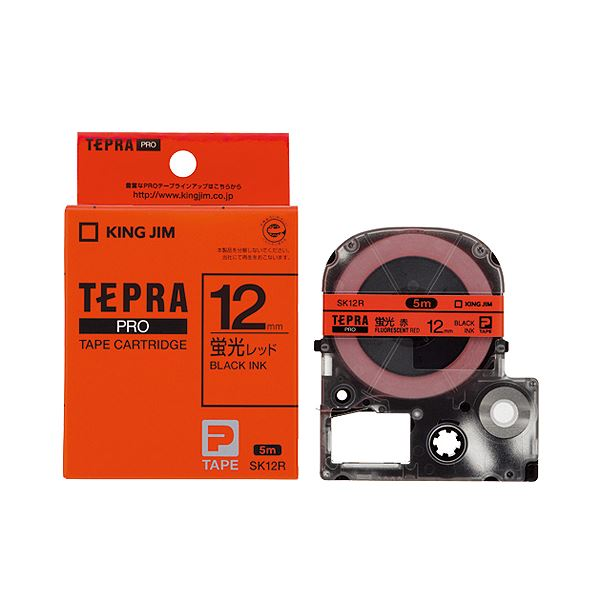 (まとめ) キングジム テプラ PRO テープカートリッジ 12mm 蛍光レッド/黒文字 SK12R 1個 【×10セット】