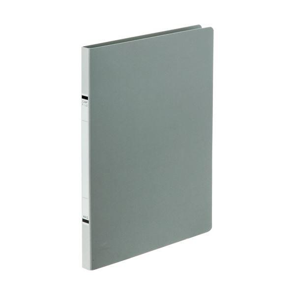 (まとめ) TANOSEEクランプファイル(紙表紙) A4タテ 100枚収容 背幅18mm ソフトグレー 1セット(10冊) 【×10セット】