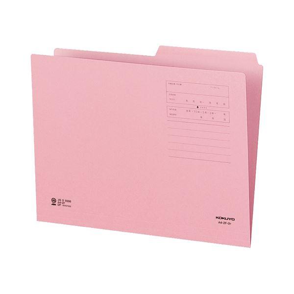 (まとめ)コクヨ 1/2カットフォルダー(カラー)A4 第2見出し ピンク A4-2F-2P 1セット(10冊)【×10セット】