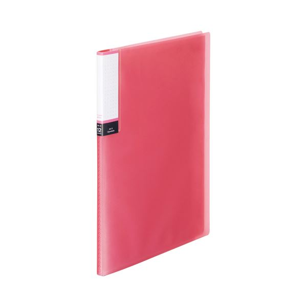 (まとめ) TANOSEE クリアブック(透明表紙) A4タテ 12ポケット 背幅8mm ピンク 1セット(10冊) 【×10セット】