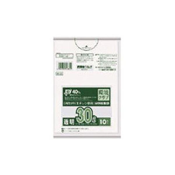 (まとめ)日本サニパックW-33環境クラブ30L透明 W-33-CL 1パック(10枚)【×50セット】