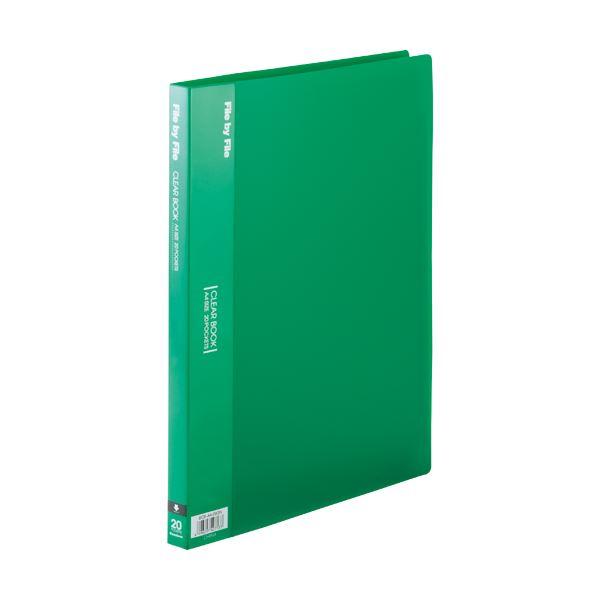 (まとめ) ビュートン クリヤーブック(クリアブック) A4タテ 20ポケット 背幅17mm グリーン BCB-A4-20GN 1セット(10冊) 【×5セット】