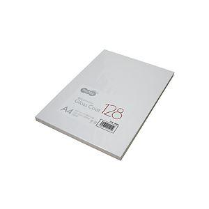 (まとめ) TANOSEE αエコグロスコート128 A4 128g 1冊(100枚) 【×10セット】