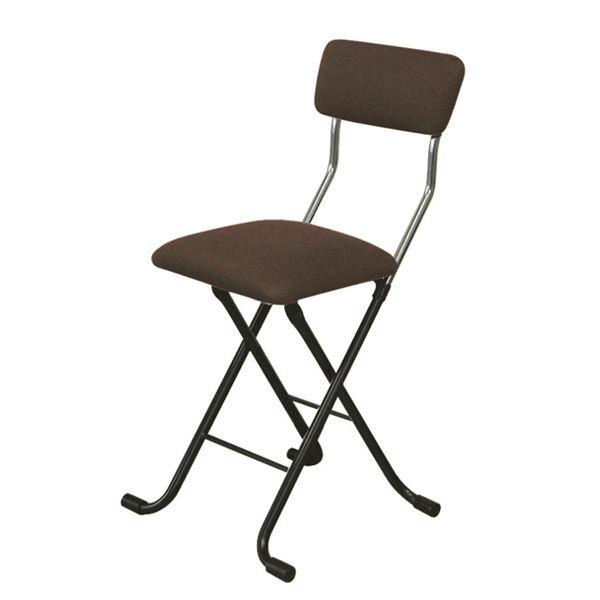 折りたたみ椅子 【4脚セット ブラウン×ブラック】 幅40cm 日本製 スチールパイプ 『Jメッシュチェア』【代引不可】