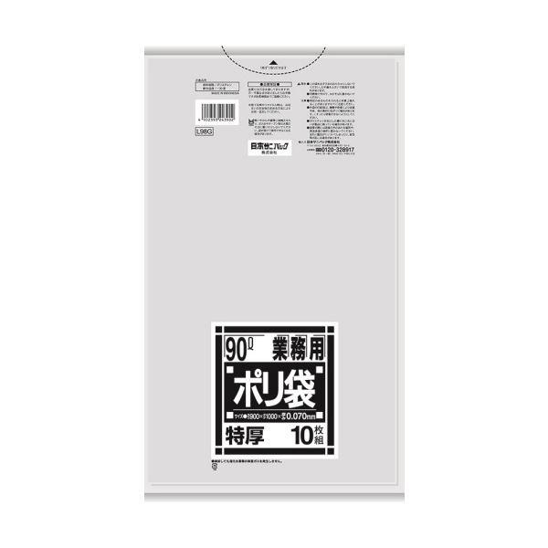 (まとめ)日本サニパック Lシリーズ 業務用ポリ袋 特厚 透明 90L L98G 1パック(10枚)【×10セット】