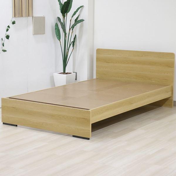 ベッド 日本製 工具 不要 組立 簡単 省スペース ベッド下 収納 シンプル モダン フラット 木製 パネル デザイン ナチュラル ダブル ベッドフレームのみ【代引不可】
