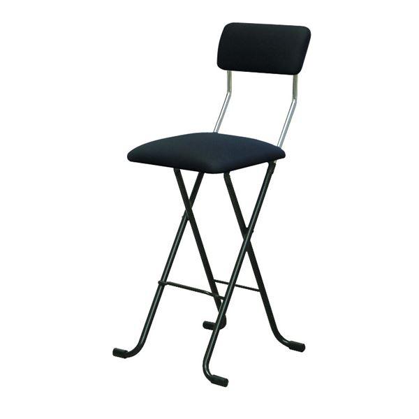 折りたたみ椅子 【2脚セット ブラック×ブラック】 幅40cm 日本製 スチールパイプ 『Jメッシュチェア ハイ』【代引不可】