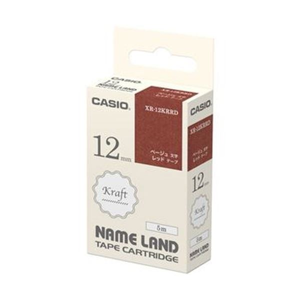 (まとめ)カシオ NAME LANDクラフトテープ 12mm×5m レッド/ベージュ文字 XR-12KRRD 1個【×20セット】