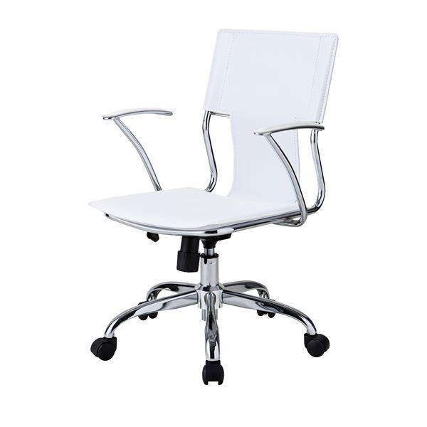 レザーチェア/デスクチェア 【ホワイト】 背及び座部:合成皮革/合皮 肘付き キャスター付き【代引不可】