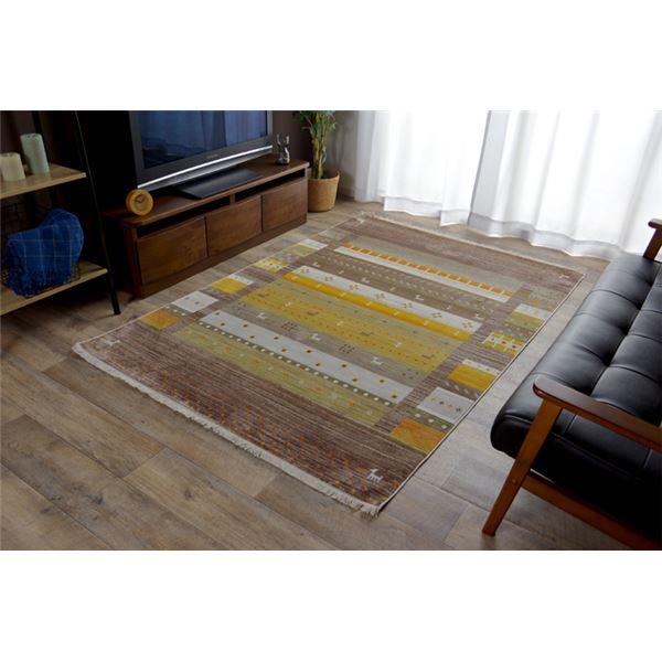 トルコ製 ラグマット/絨毯 【ブラウン 約160×225cm】 折りたたみ収納可 高耐久性 オールシーズン可 〔リビング〕
