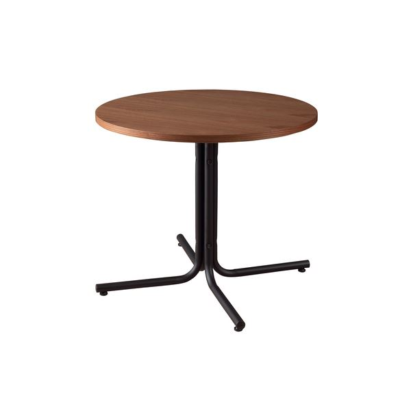 カフェテーブル/サイドテーブル 【ブラウン 幅80cm】 円形 スチール 『ダリオ』 〔リビング ダイニング 店舗〕