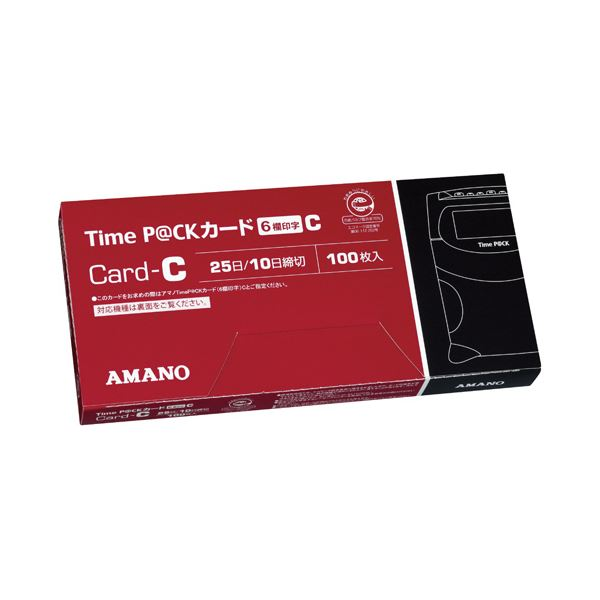 (まとめ) アマノ TimeP@CKカード6欄印字C(25日締め/10日締め) 1パック(100枚) 【×10セット】