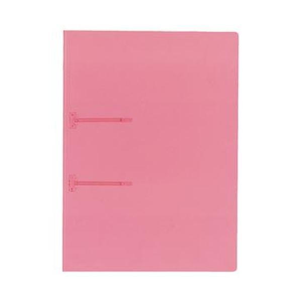 (まとめ)コクヨ ファスナーファイル(クリヤーカラー)A4タテ 2穴 90枚収容 ピンク フ-P170P 1セット(20冊)【×5セット】
