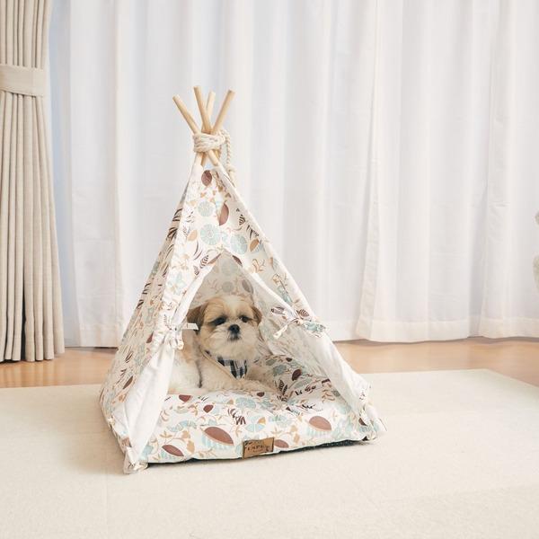 【ポイント10倍】Pet Tipi tent(ペットティピーテント)スクエア×ホワイト:サイバーベイ