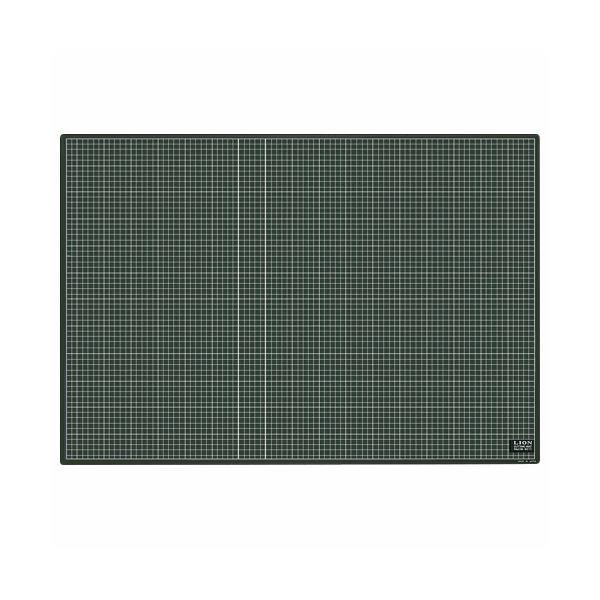 (まとめ)ライオン事務器 カッティングマット再生PVC製 両面使用 900×620×3mm 黒/黒 CM-9011 1枚【×3セット】