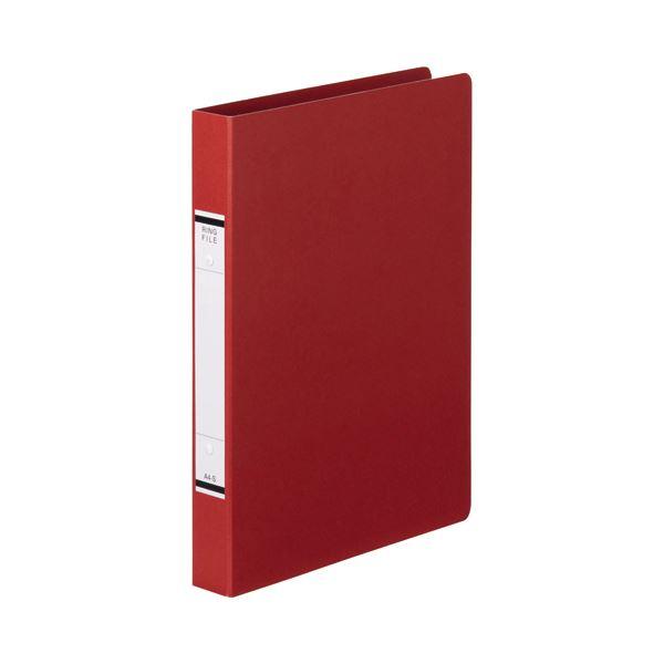 (まとめ) TANOSEE Oリングファイル(紙表紙) A4タテ 2穴 220枚収容 背幅36mm 赤 1セット(10冊) 【×10セット】