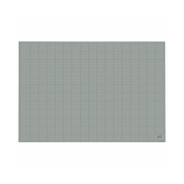 (まとめ)ライオン事務器 カッティングマット再生PVC製 両面使用 900×620×3mm 灰/黒 CM-9012 1枚【×3セット】