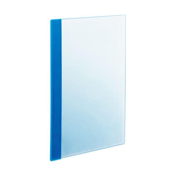 (まとめ) TANOSEE薄型クリアブック(角まる) A4タテ 5ポケット ブルー 1パック(5冊) 【×30セット】