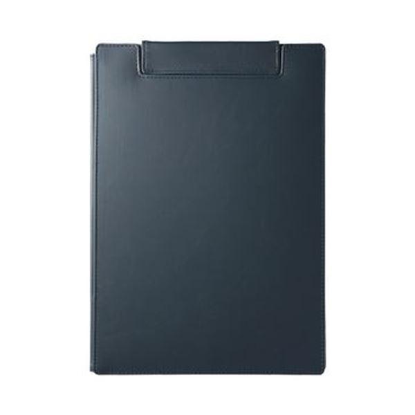 (まとめ)キングジム レザフェスUクリップボード(カバー付)A4 ネイビー 1932LU 1枚【×10セット】