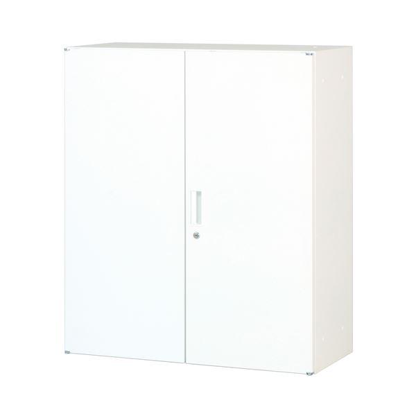 スチール書庫(両開き戸) ホワイト 組立品【代引不可】