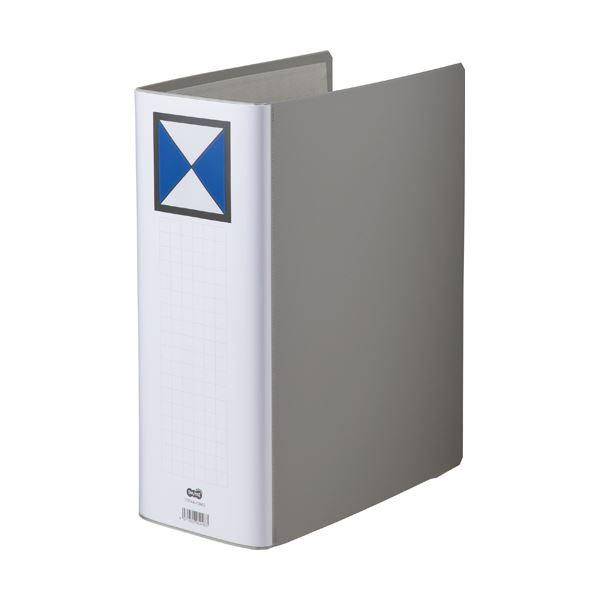 (まとめ) TANOSEE 両開きパイプ式ファイル A4タテ 1000枚収容 背幅116mm グレー 1冊 【×10セット】
