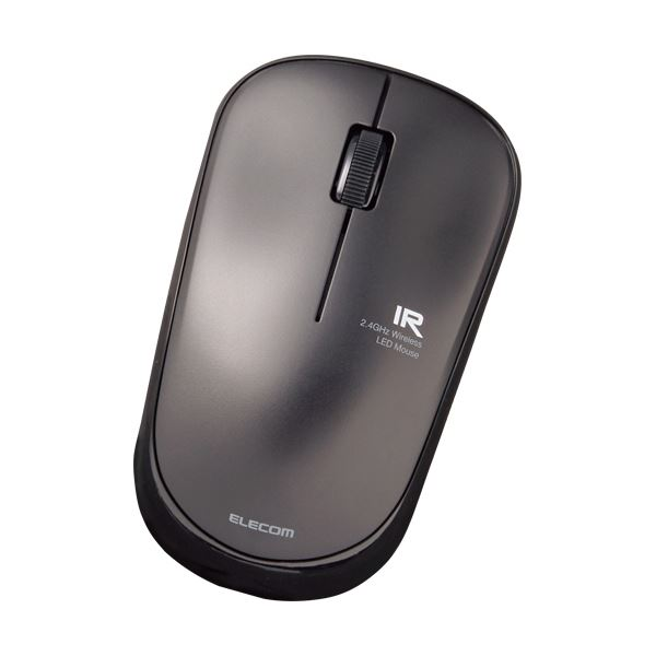 (まとめ)エレコム 3ボタン 無線IRマウス 静音簡易パッケージ ブラック M-IR07DRSBKT 1セット(5個)【×3セット】