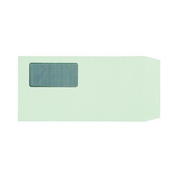 (まとめ) TANOSEE 窓付封筒 裏地紋付 ワンタッチテープ付 長3 80g/m2 グリーン 1パック(100枚) 【×10セット】