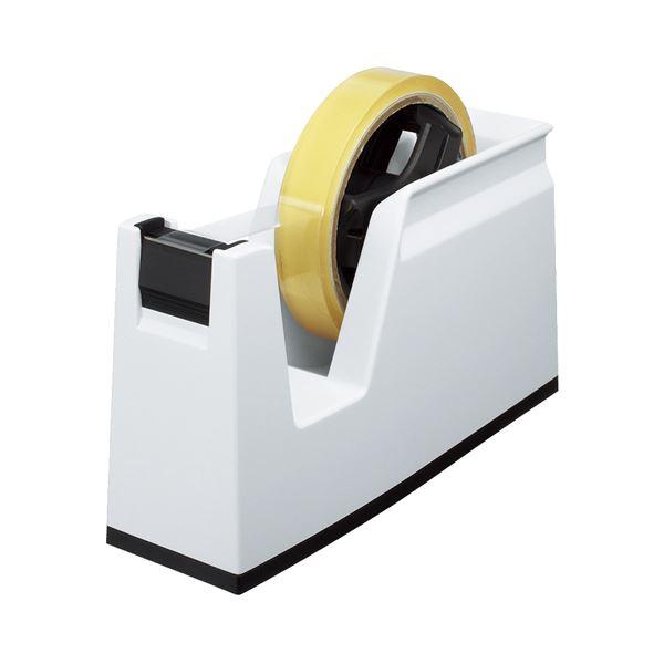 (まとめ) コクヨ テープカッター カルカット 大巻・小巻両用 白 T-SM100W 1台 【×10セット】