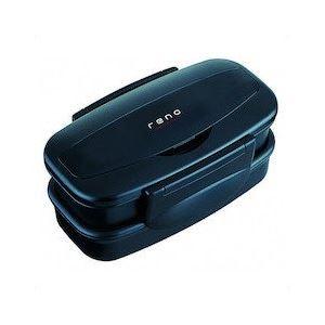 (まとめ) 弁当箱/ランチボックス 【2段 830ml】 箸付き 入れ子式 ブラック 『レノ』 【40個セット】