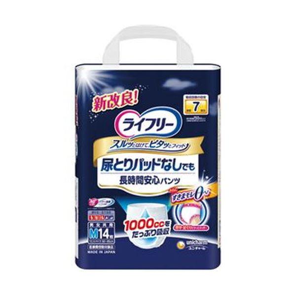 (まとめ)ユニ・チャーム ライフリー尿とりパッドなしでも長時間安心パンツ M 1パック(14枚)【×5セット】
