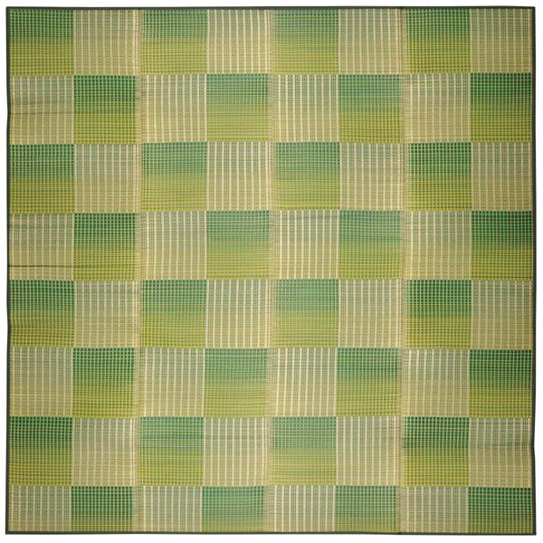 い草 ラグマット/絨毯 【約180×240cm グリーン】 表面:イ草100% 裏貼り 折りたたみ可 『クレパス』 〔リビング ダイニング〕【代引不可】