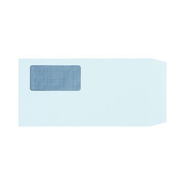 (まとめ) TANOSEE 窓付封筒 裏地紋付 ワンタッチテープ付 長3 80g/m2 ブルー 1パック(100枚) 【×10セット】