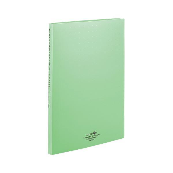 (まとめ) リヒトラブ AQUA DROPs クリヤーブック(クリアブック)(ポケット交換タイプ) A4タテ 30穴 15ポケット付属 背幅18mm 黄緑 N5015-6 1冊 【×30セット】
