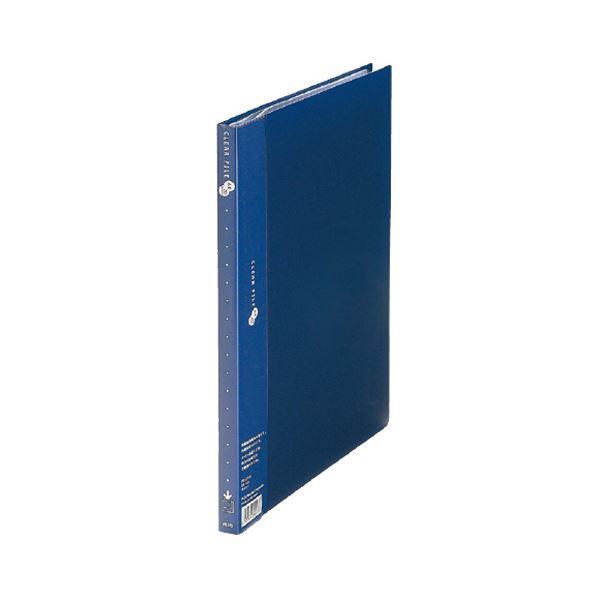 (まとめ) プラス クリアーファイルスーパーエコノミータイプ A4タテ 20ポケット 背幅15mm ネイビー FC-122EL 1セット(10冊) 【×10セット】