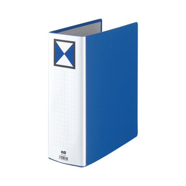 (まとめ) TANOSEE 両開きパイプ式ファイル A4タテ 900枚収容 背幅106mm 青 1冊 【×10セット】
