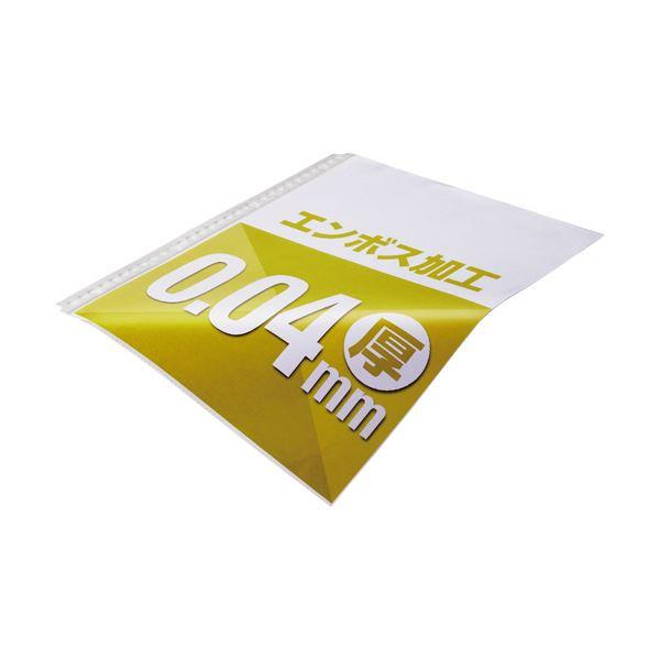 (まとめ) TANOSEE クリアファイル用リフィルA4タテ 2・4・30穴 エンボス加工 1セット(500枚:100枚×5パック) 【×10セット】