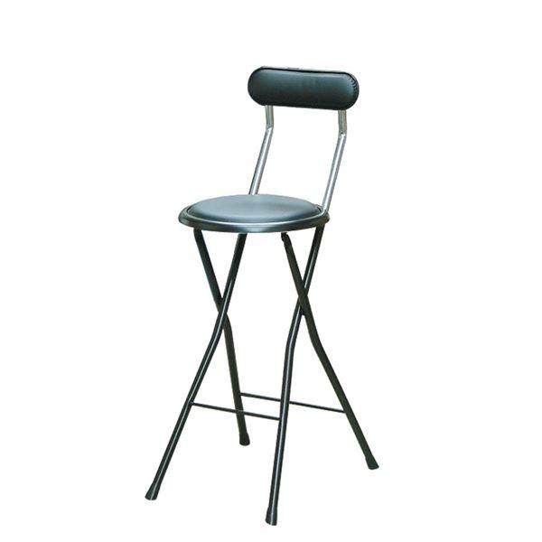 折りたたみ椅子 【同色4脚セット ブラック×ブラック】 幅36cm 日本製 スチールパイプ 『ニューニーダー ハイ』【代引不可】