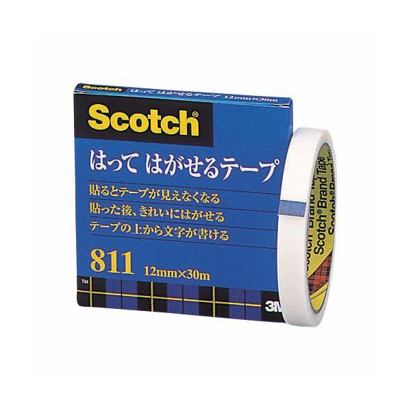 (まとめ) 3M スコッチ はってはがせるテープ 811 大巻 12mm×30m 紙箱入 カット金具付 811-3-12 1巻 【×30セット】