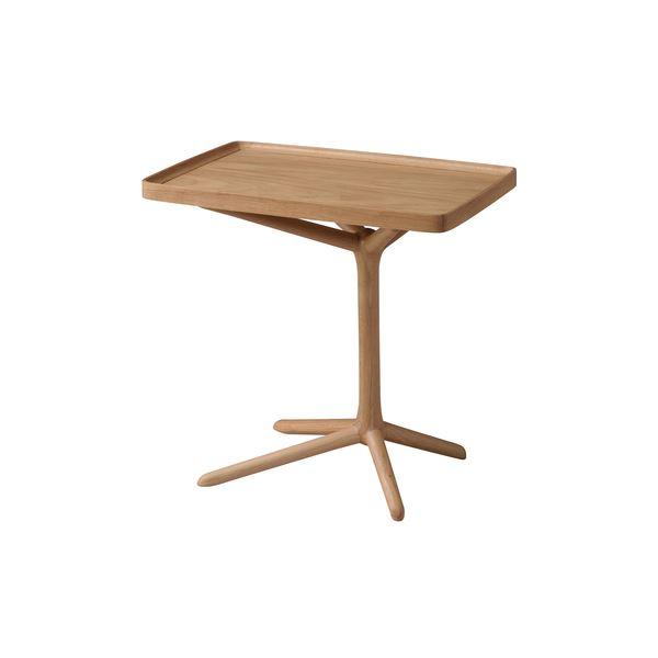 2WAY サイドテーブル/ミニテーブル 【ナチュラル】 幅54cm 木製 〔リビング ダイニング ベッドルーム 寝室〕