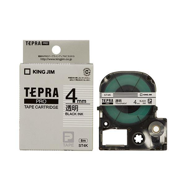 (まとめ) キングジム テプラ PRO テープカートリッジ 4mm 透明/黒文字 ST4K 1個 【×10セット】