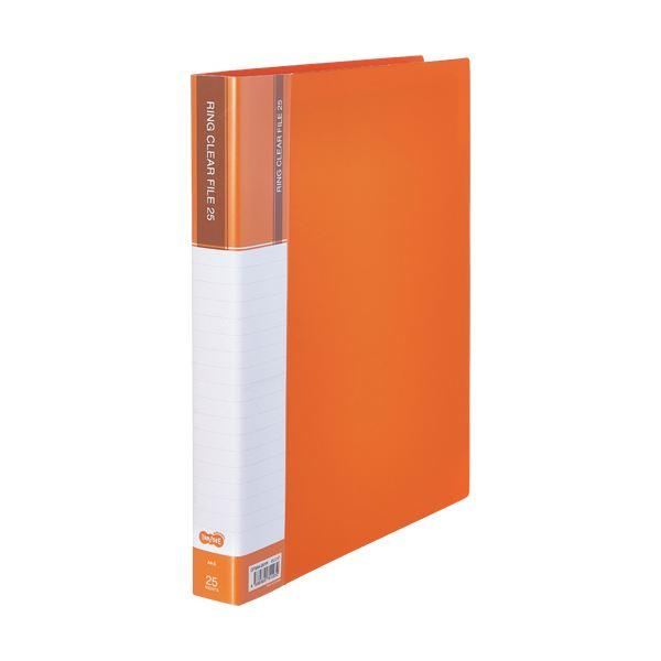 (まとめ) TANOSEEPPクリヤーファイル(差替式) A4タテ 30穴 25ポケット オレンジ 1冊 【×10セット】