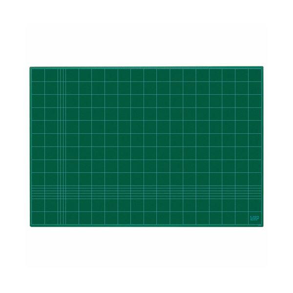 (まとめ)ライオン事務器 カッティングマット再生PVC製 両面使用 620×450×3mm グリーン CM-60 1枚【×3セット】