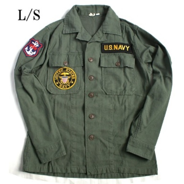 【ポイント10倍】アメリカ海軍NAVY長袖ファーティングシャツ オリーブ レプリカ13h(レディースフリー)