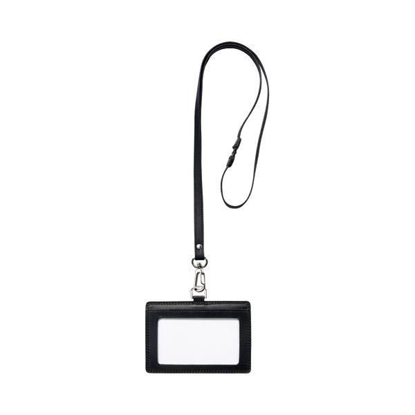 (まとめ) フロント 本革製ネームカードホルダー ヨコ型 ストラップ付 ブラック RLNH-E-BL 1個 【×10セット】
