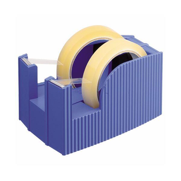 (まとめ) ライオン事務器 テープカッター(フリス)2連 太巻用 112×171×92mm ブルー TC-30 1台 【×10セット】