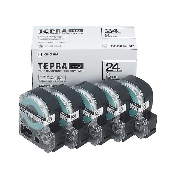 (まとめ)キングジム テプラ PRO テープカートリッジ 24mm 白/黒文字 SS24K-5P 1パック(5個)【×3セット】