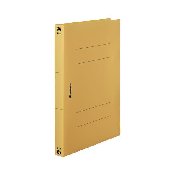 (まとめ) スマートバリュー PPフラットファイル厚綴A4S黄10冊 D080J-YL【×5セット】