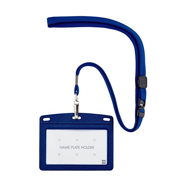 (まとめ) オープン工業 吊下げ名札 レザー調 ヨコ名刺サイズ 青 N-123P-BU 1個 【×30セット】