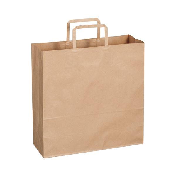 (まとめ)TANOSEE 紙手提袋 平紐 中ヨコ320×タテ320×マチ幅115mm 茶無地 1パック(50枚)【×10セット】