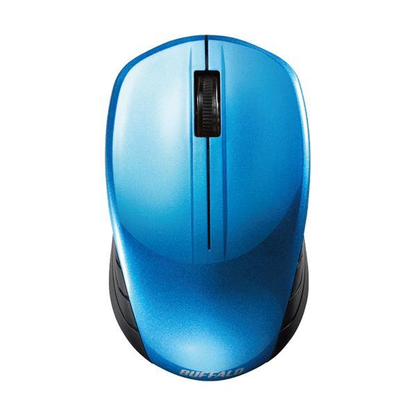 (まとめ)バッファロー 無線 BlueLED3ボタン スタンダードマウス ブルー BSMBW107BL 1セット(3個)【×3セット】